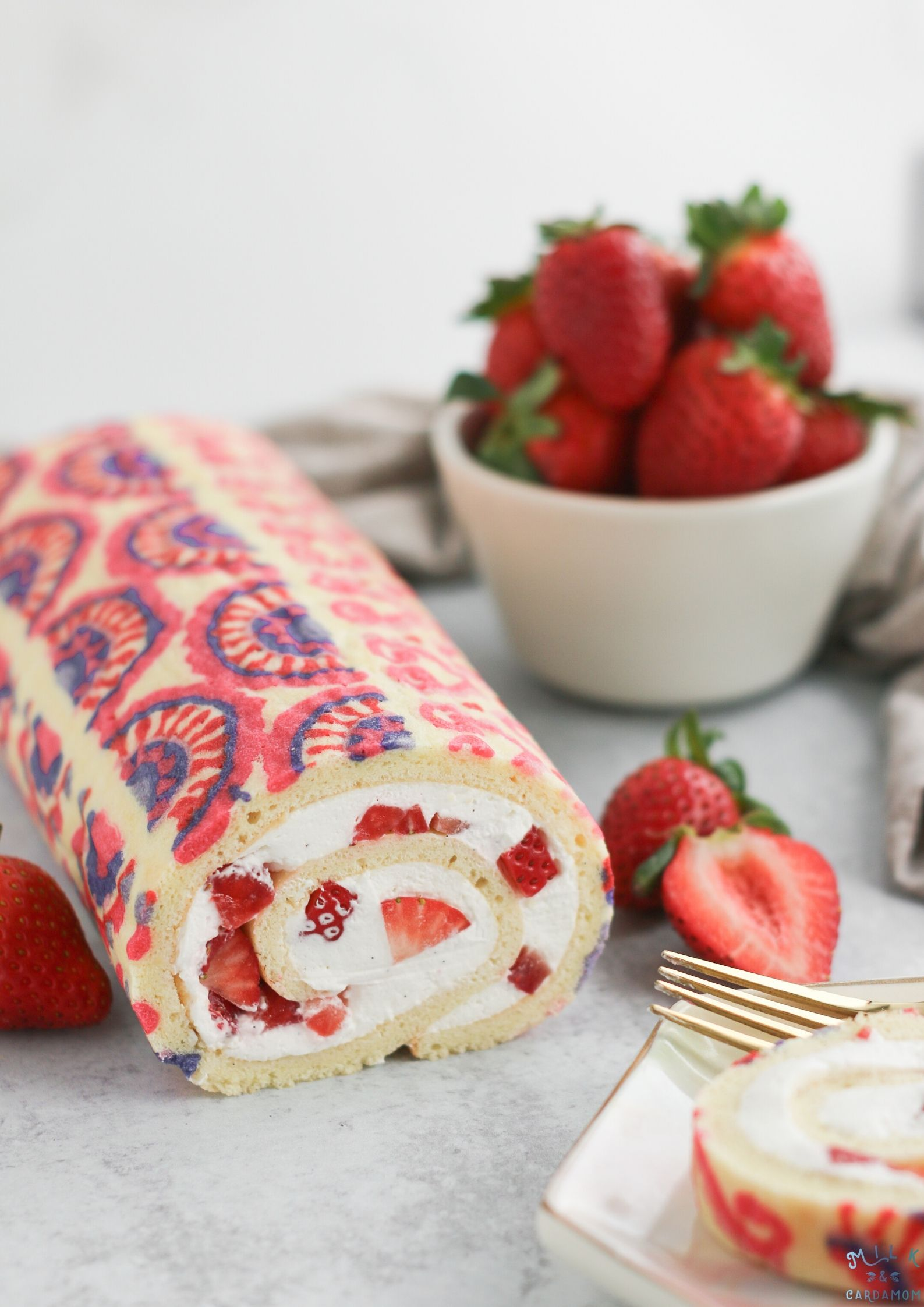 Strawberries And Cream Swiss Roll Milk Cardamom